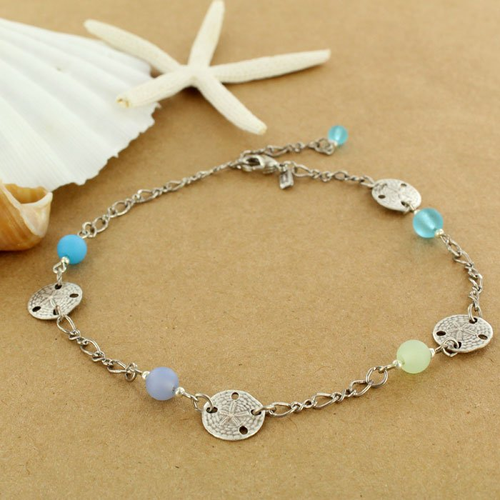Sand dollar sea glass anklet