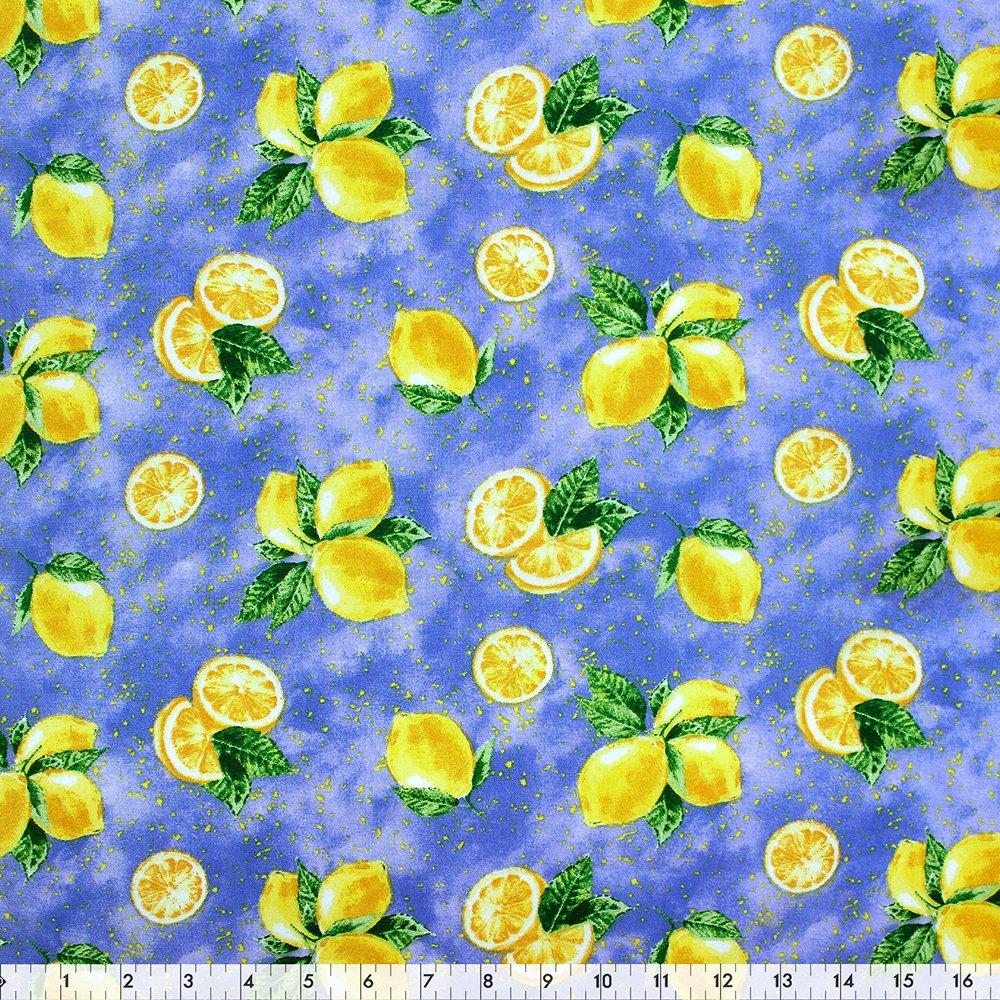 Yellow/Blue Lemon - 100% Cotton 44