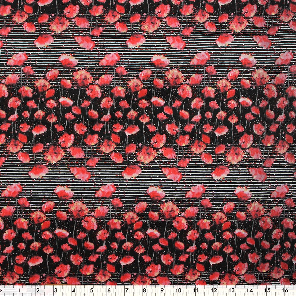 Red/Black poppy 100% cotton 42