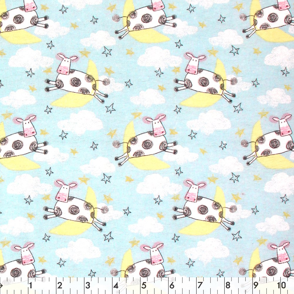 Playful Cuties Cows & Stars - Flannel 100% Cotton 42