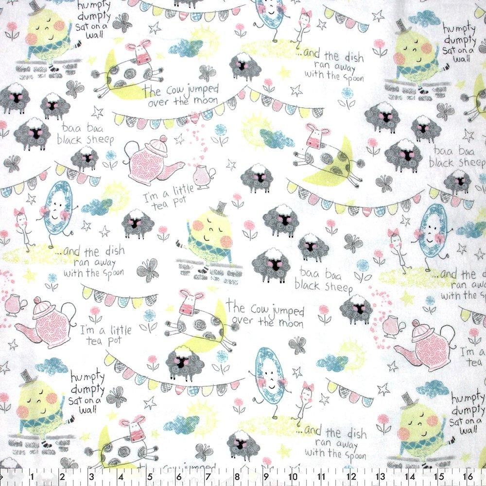 Playful Cuties Nursery Rhymes - Flannel 100% Cotton 42
