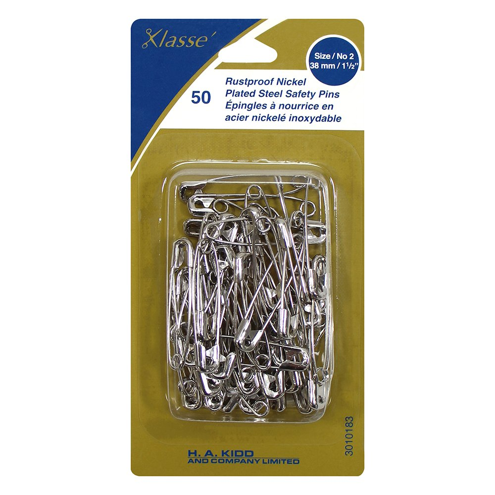 Rustproof Nickel Plated Steel Safety Pins Size/no.2 38mm/1 1/2in 50pk
