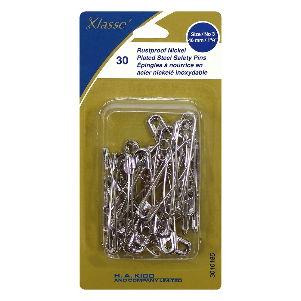 Rustproof Nickel Plated Steel Safety Pins size/no3 46mm/1 3/4in 30pk