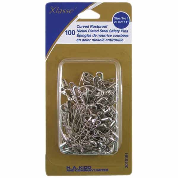 Curved Rustproof Nickel Plate Steel Safety Pins Size/no.1 25mm/1in 100pk