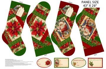 Old Time Christmas Stocking Panel - Northcott Collection