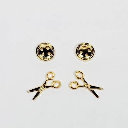 Button & Scissors Earring Set of 2 Gold