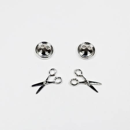 Button & Scissors Earring Set of 2 Silver