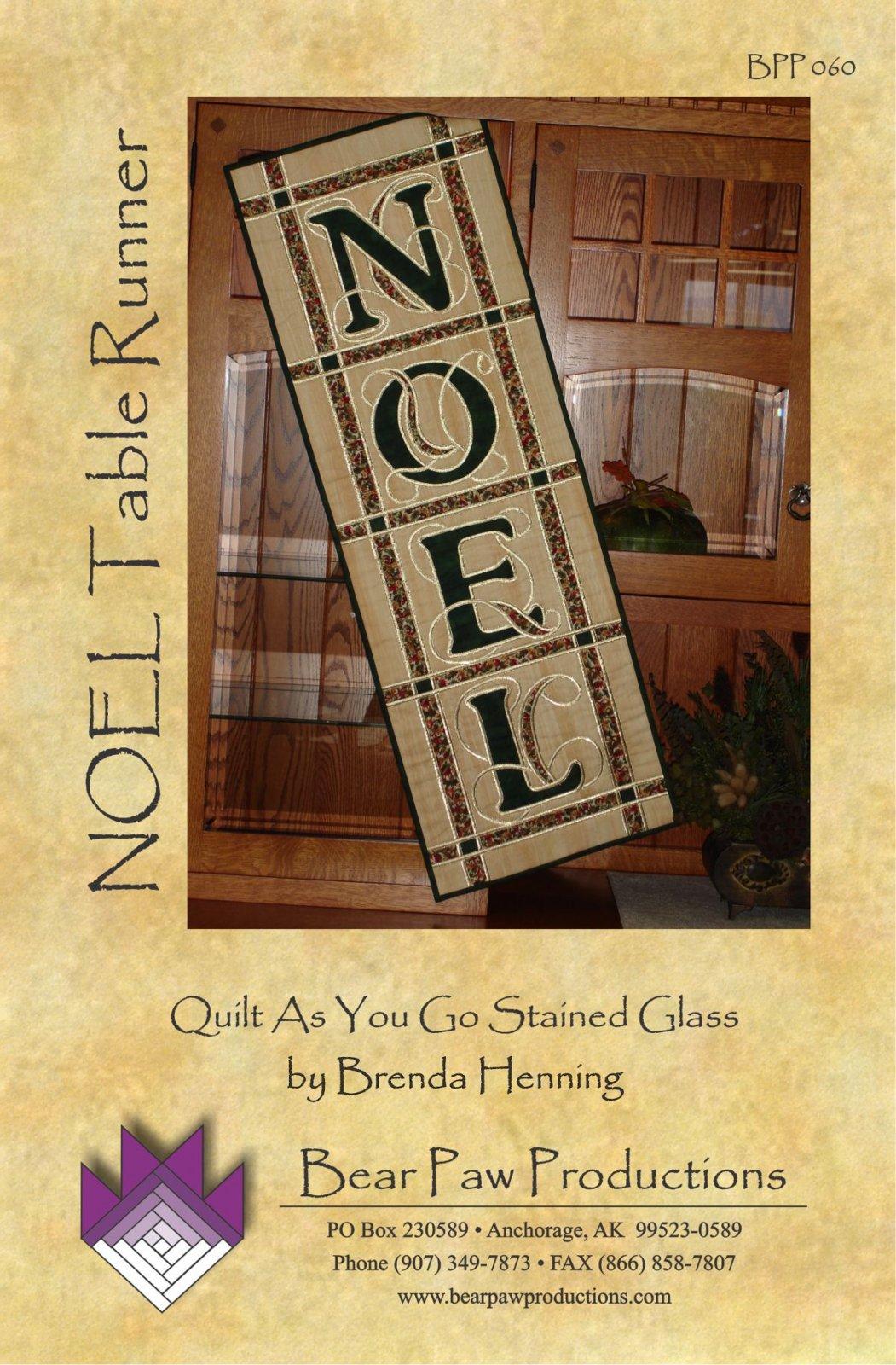 NOEL Table Runner in Stained Glass