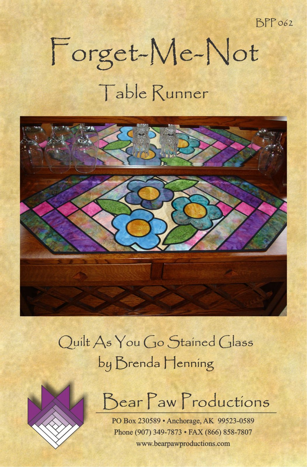 Forget-Me-Not Table Runner in Stained Glass
