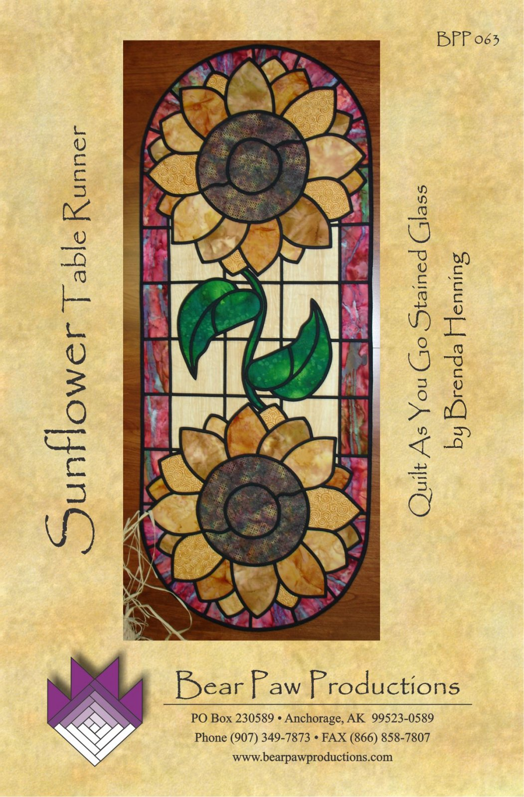 Sunflower Table Runner in Stained Glass