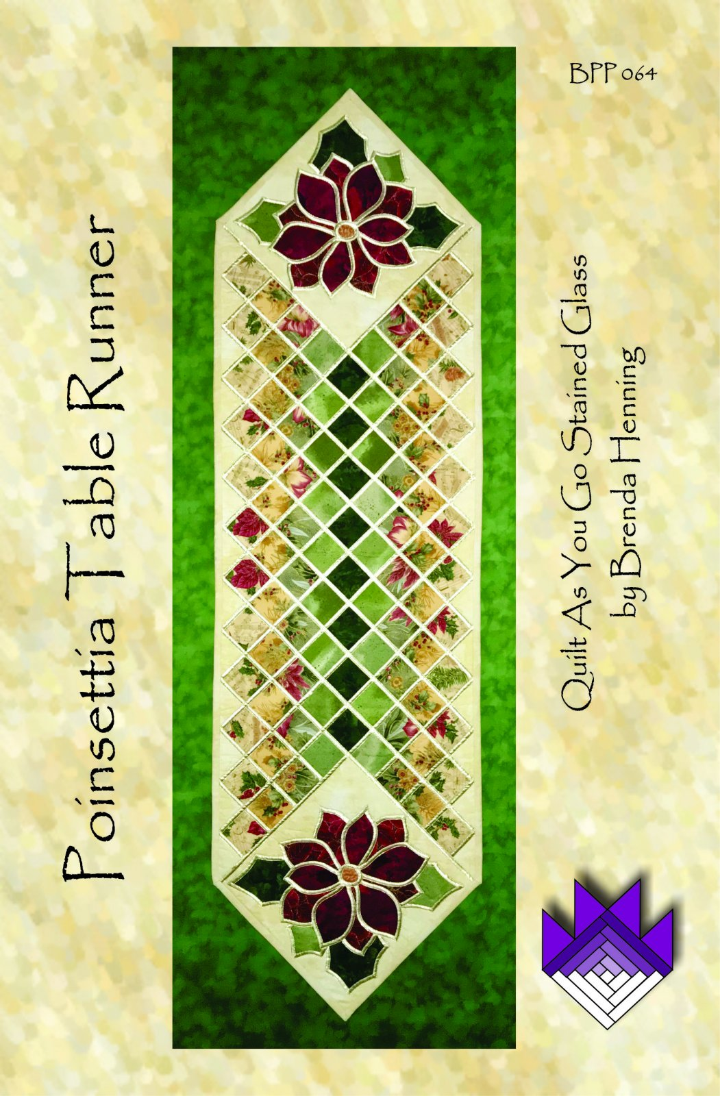Poinsettia Table Runner in Stained Glass