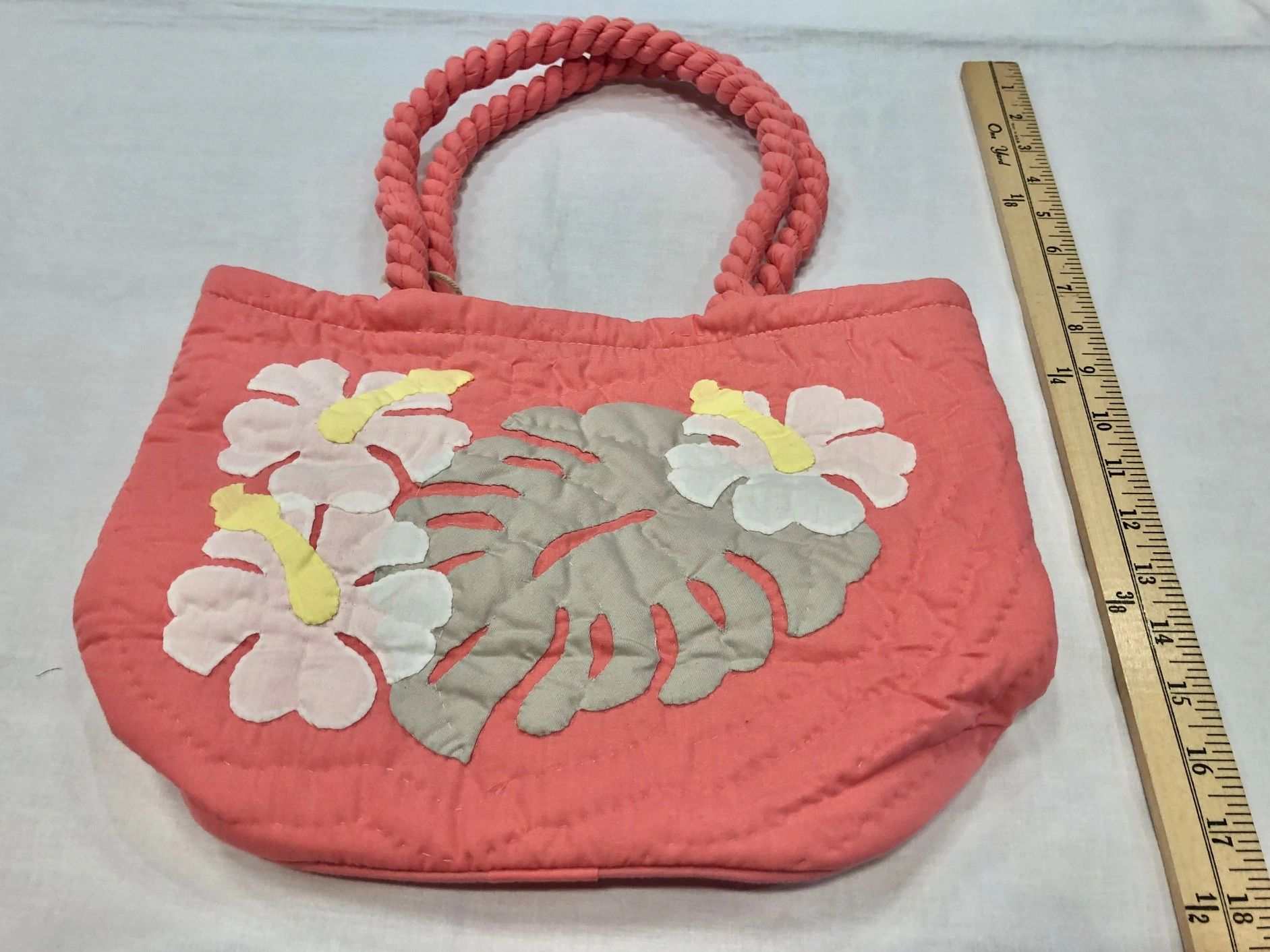 Hawaiian Quilted Bag Hibiscus 2 Pink