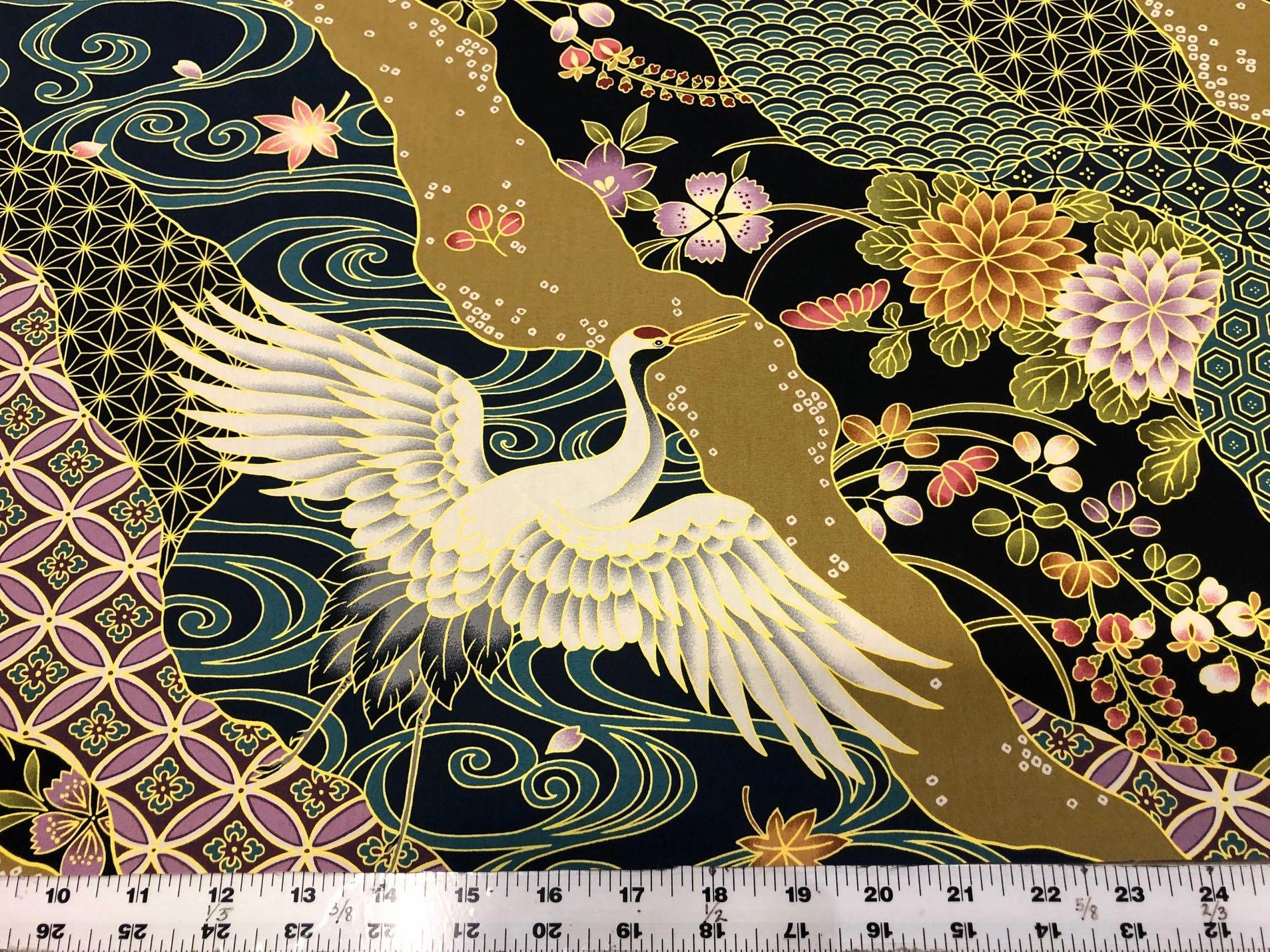 Kimono 2    Navy Cranes