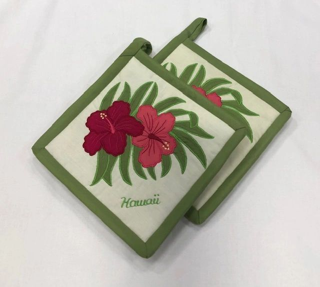 Set Of 2 Potholders Hibiscus