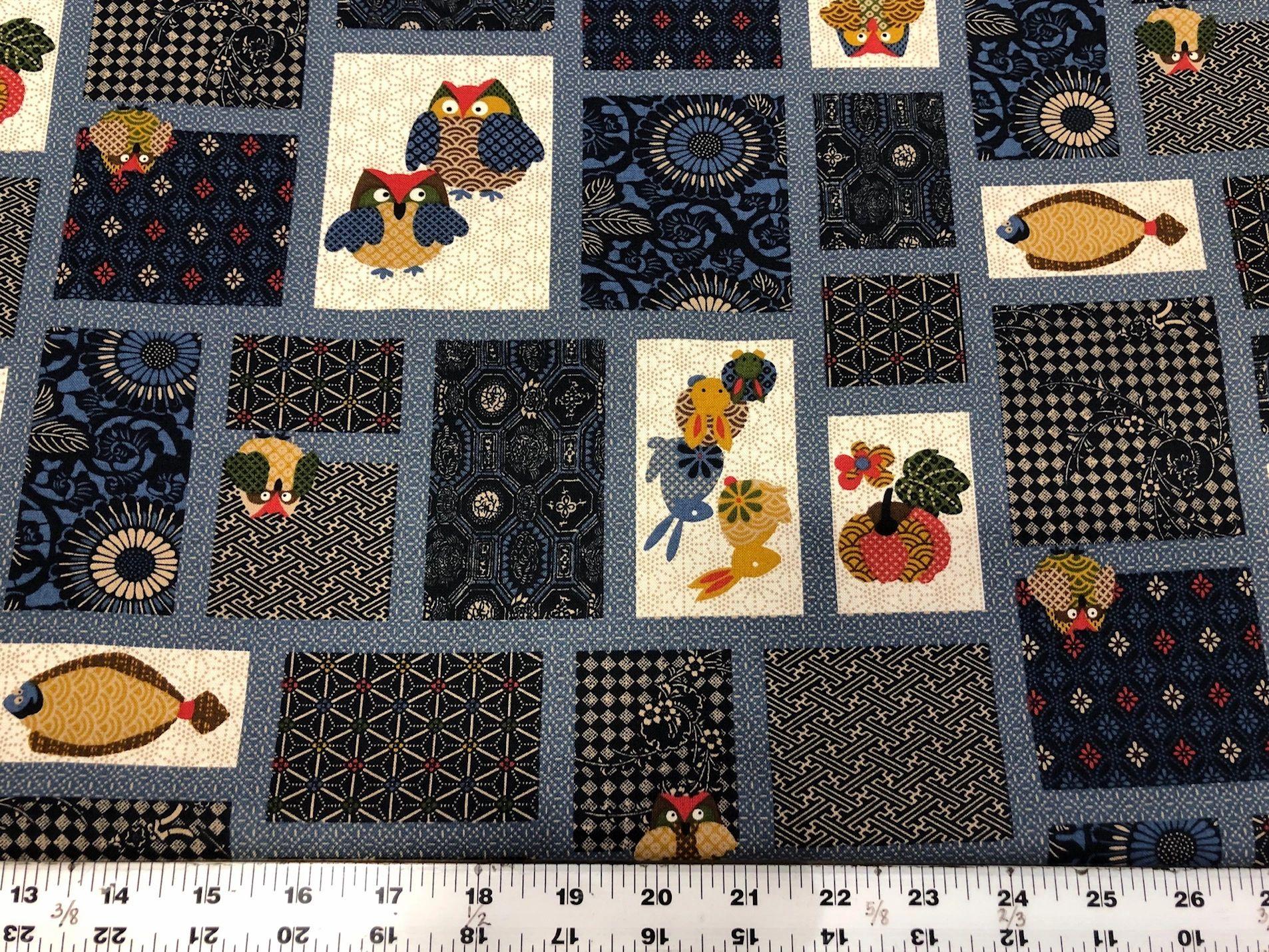 Fokurou  (Owl/multi) Indigo Fabric