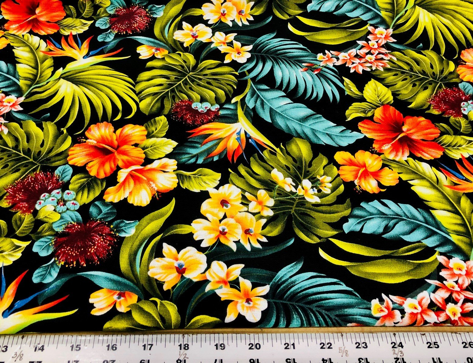 Hawaiian Flowers Bark Cloth - Black