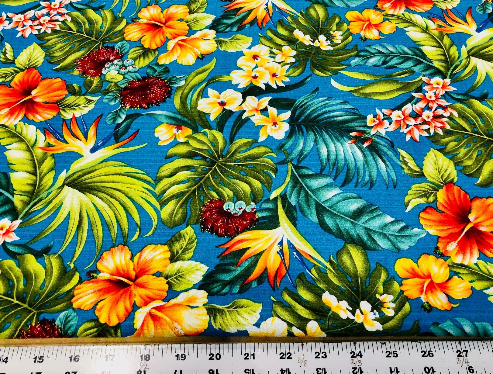 Hawaiian Flowers Bark Cloth - Turquoise