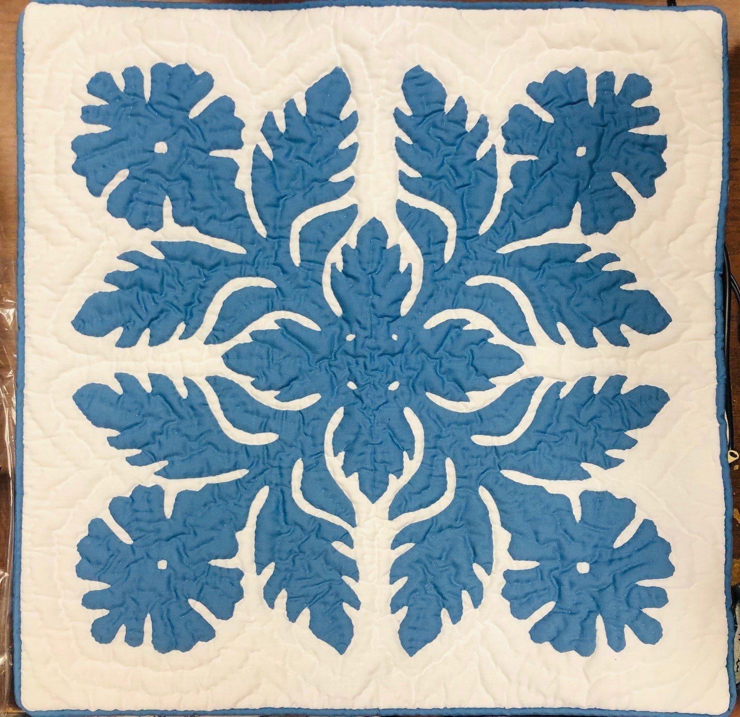 18 X 18 Hawaiian quilt Pillow Covers Hibiscus blue