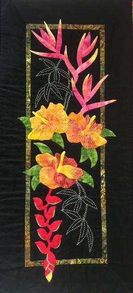 Exotics sashiko Hibiscus & Heliconias pattern