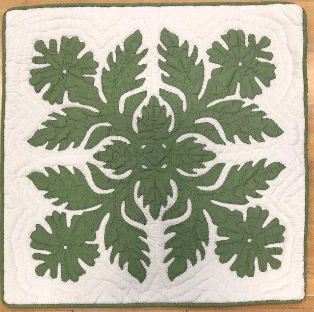 18 X 18 Hawaiian quilt Pillow Covers Hibiscus seafoam grn