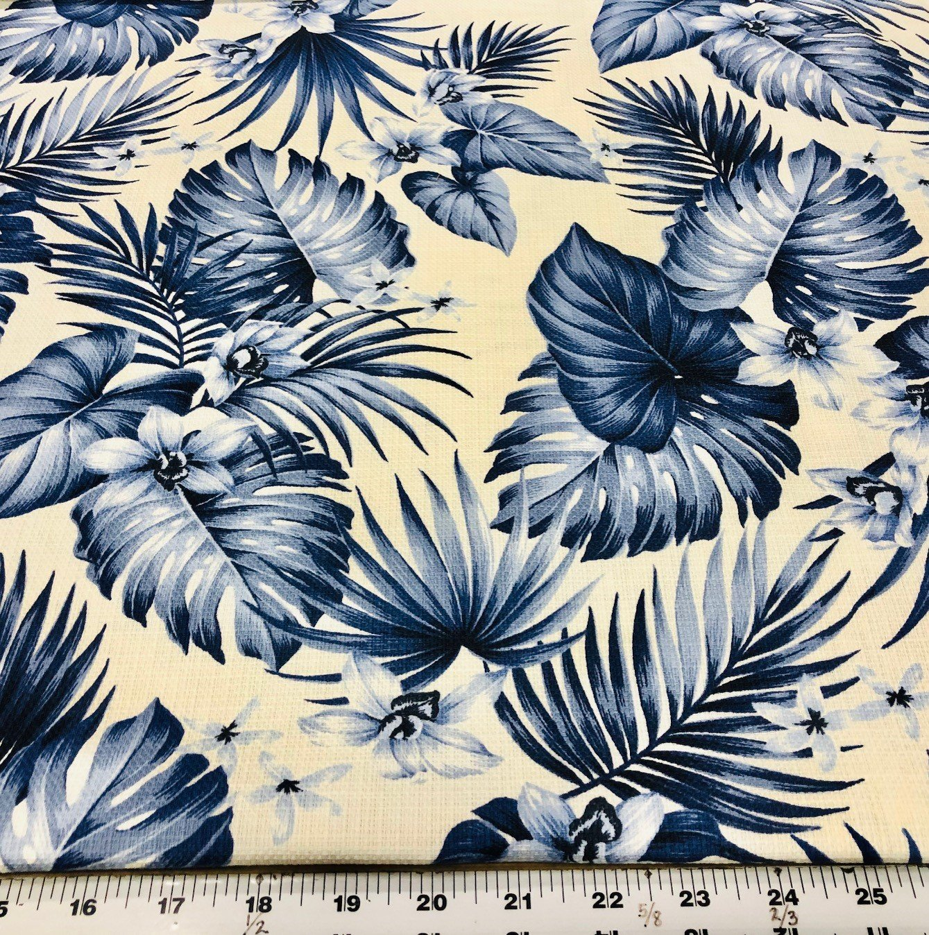 Island Paradise Bark Cloth(Orchids and Leaves)