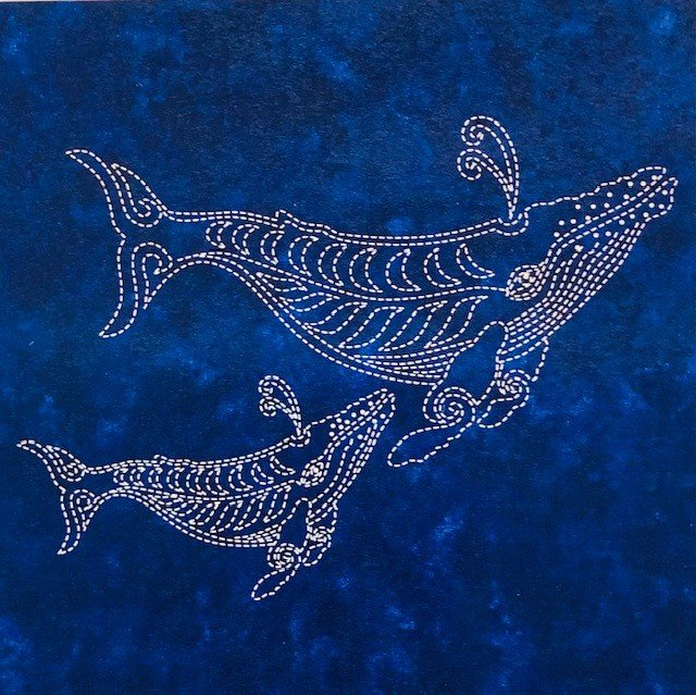 Sea Life Panel  Two Whales Blue