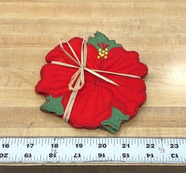 Flora Coaster S/4 Hibiscus Red