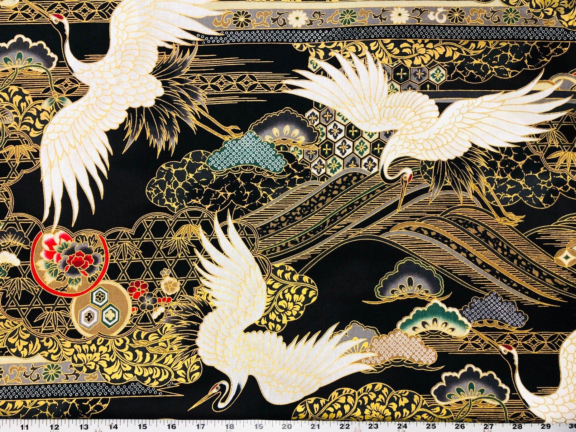Tomesode  Cranes - Black