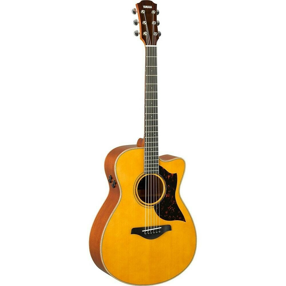 Yamaha A Series Folk Cutaway Acoustic-Electric Guitar - Solid Sitka Spruce Top, Solid Mahogany B & S, SRT System71 Piezo/Preamp w/Hard Case