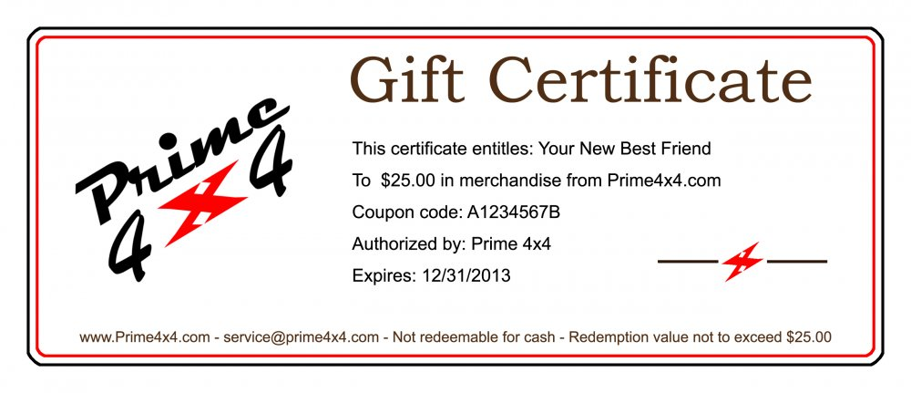 Prime 4x4 Gift Certificates