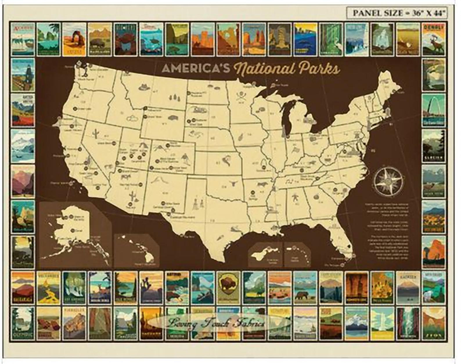 Riley Blake National Parks Poster Fabric Panel, 36 X 43 P9157