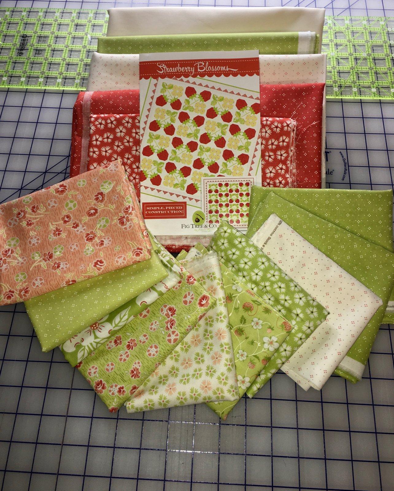 Strawberry Blossoms Quilt Kit