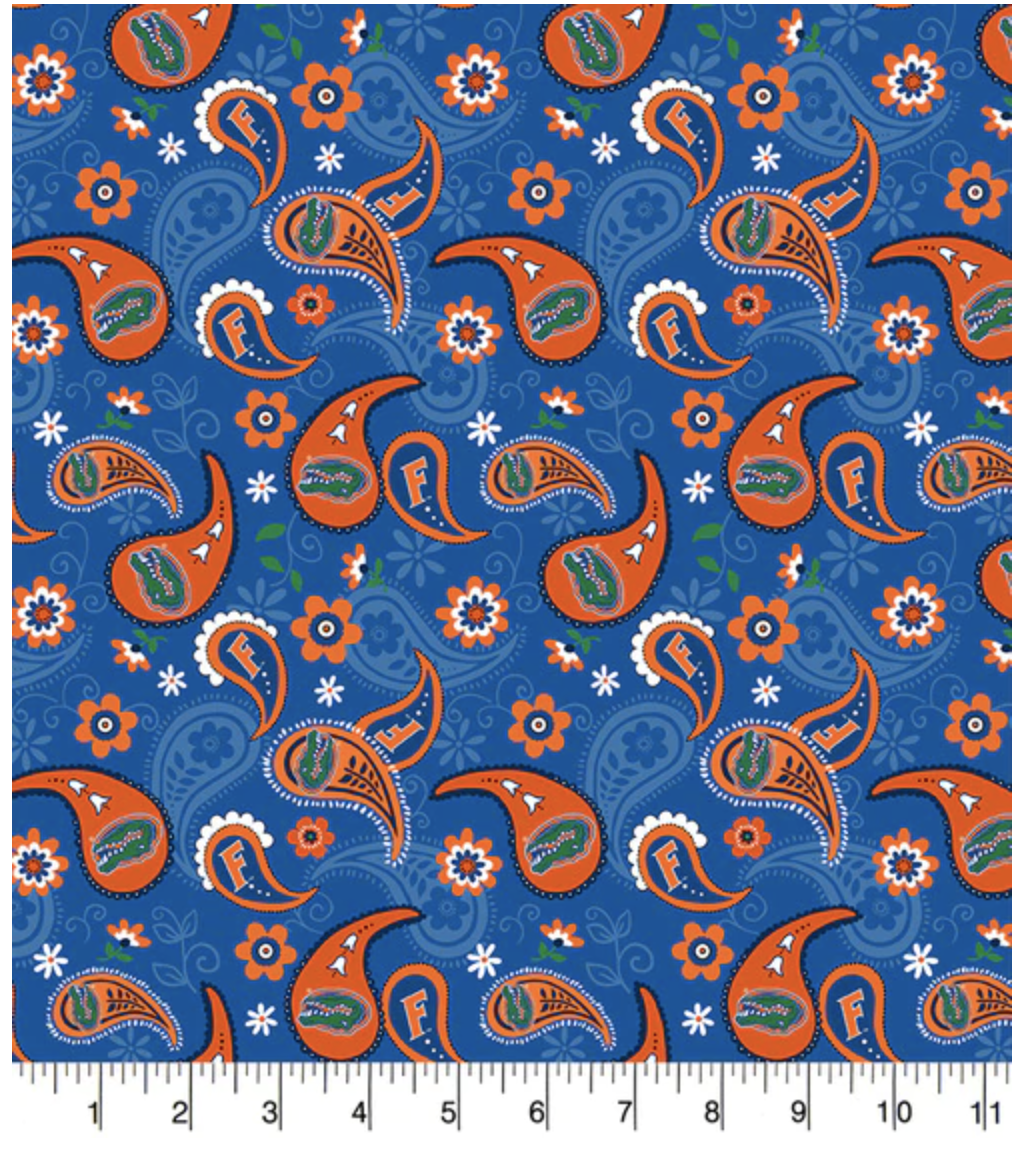 University of Florida Gators Paisely Cotton Fabric