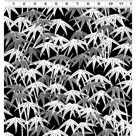Ruby Nights from Clothworks Black & White Bamboo Leaves. 100% cotton.