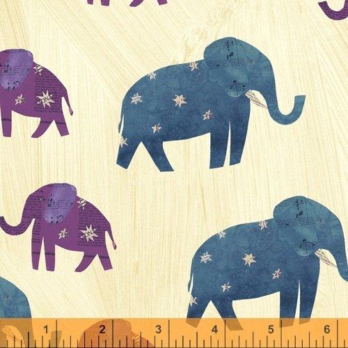 Wish. Fun Elephants Mama's and Baby. Windham Fabrics 100% Cotton