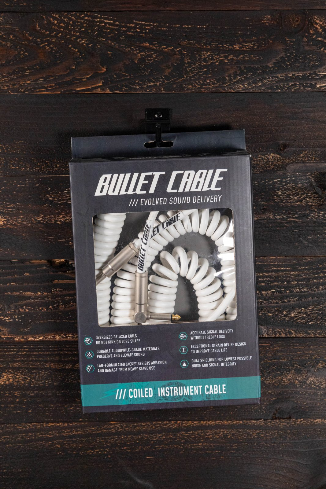 Bullet Cable 30' Coil Cable - White