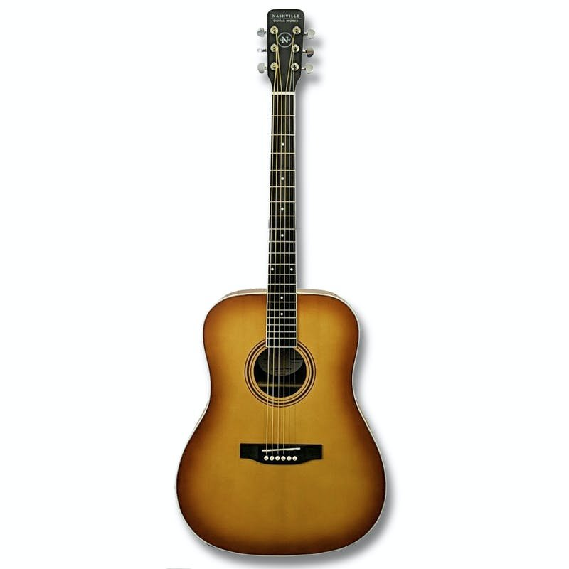 Nashville Guitar Works Edgeburst Dreadnought Acoustic Guitar w/ Case