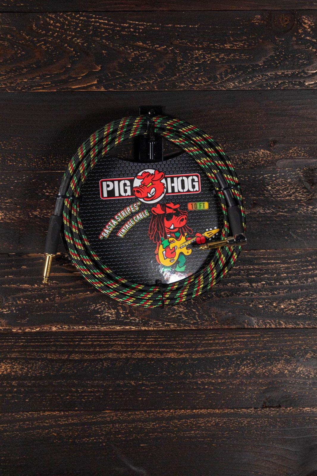 Pig Hog 10ft Rasta Stripes Right Angle Instrument Cable