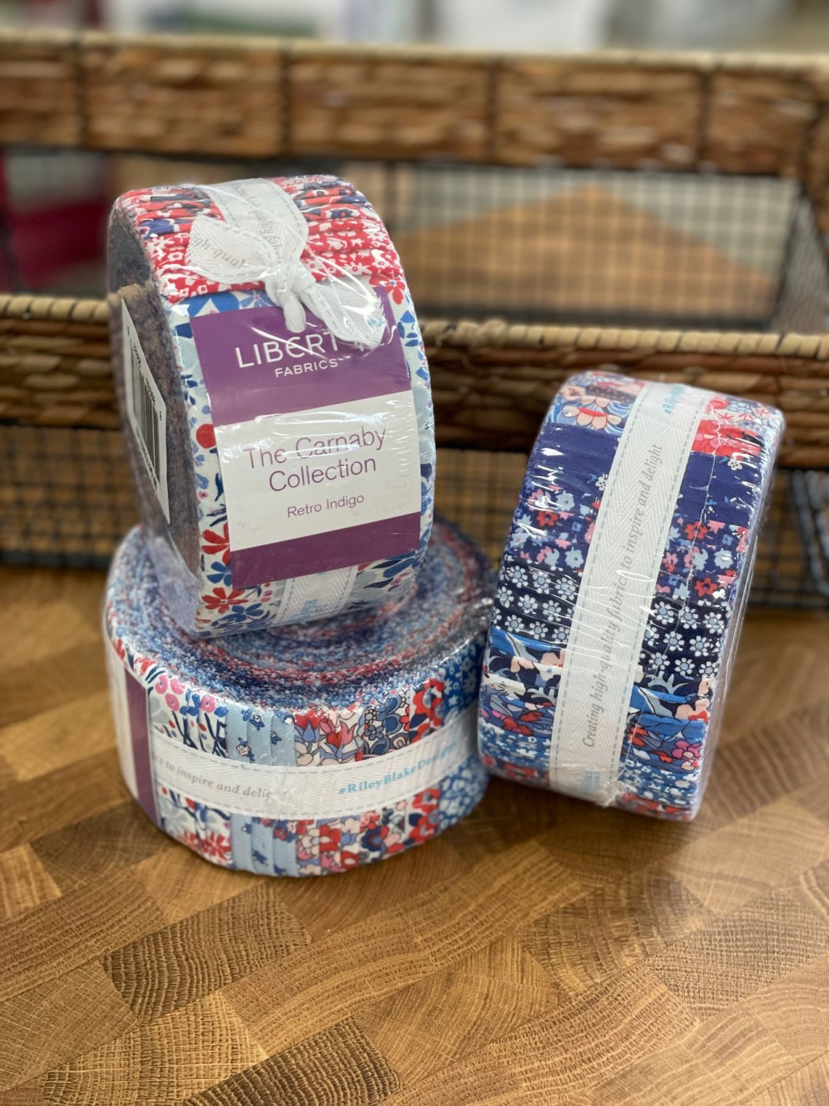 The Carnaby Collection in Retro Indigo Rolie Polie by Liberty Fabrics for Riley Blake