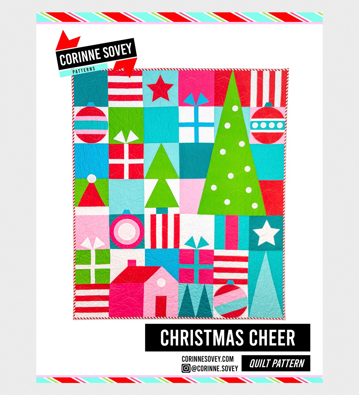 Corinne Sovey Patterns - Christmas Cheer, Quilt Pattern with Templates