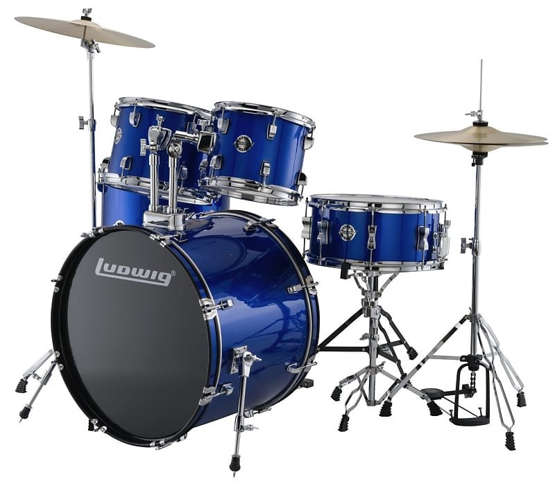 Ludwig Accent Series 5-Piece Drum Set Blue Foil