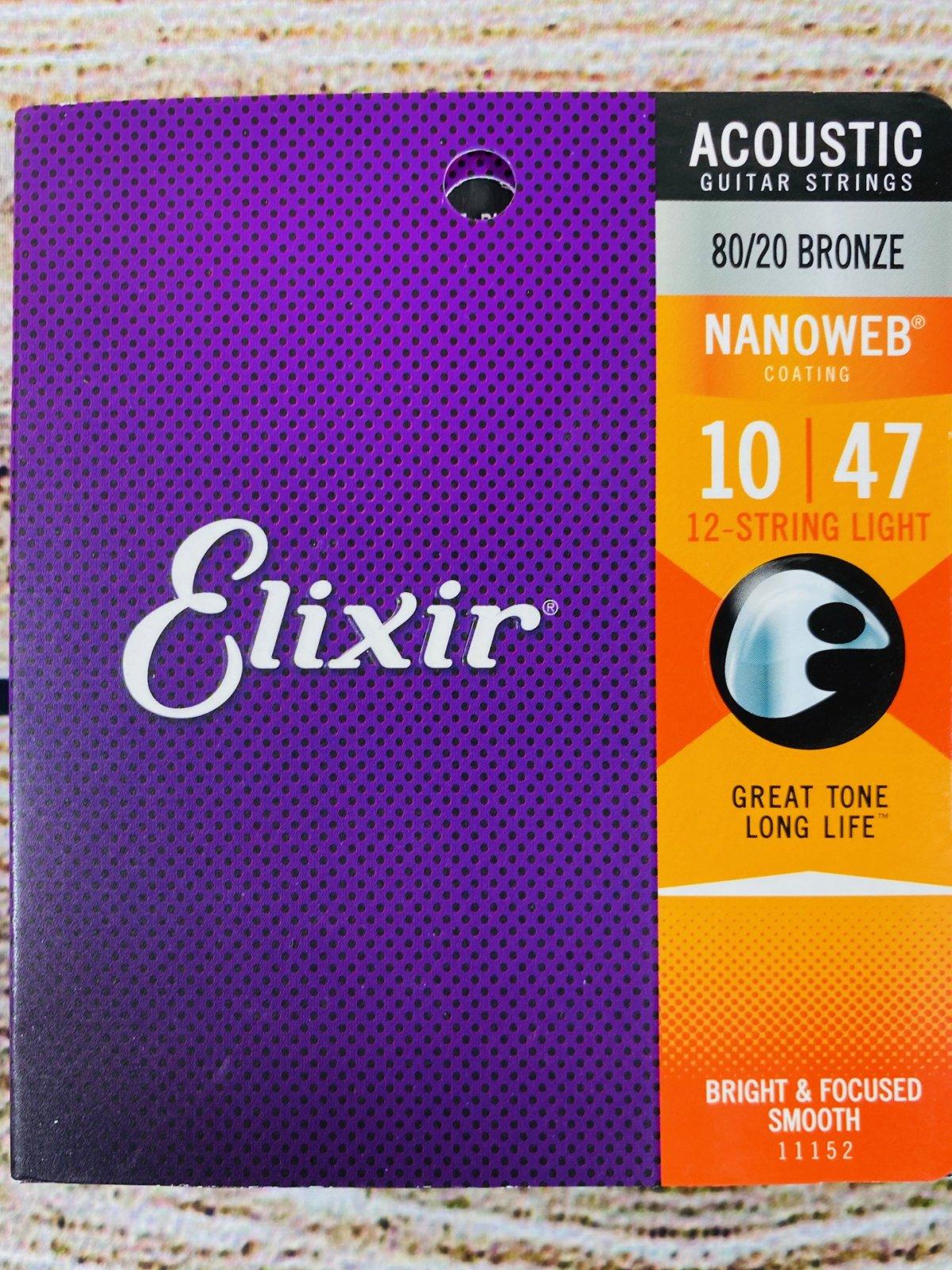 Elixir Strings Nanoweb 80/20 Acoustic Guitar Strings - .010-.047 Light 12-String