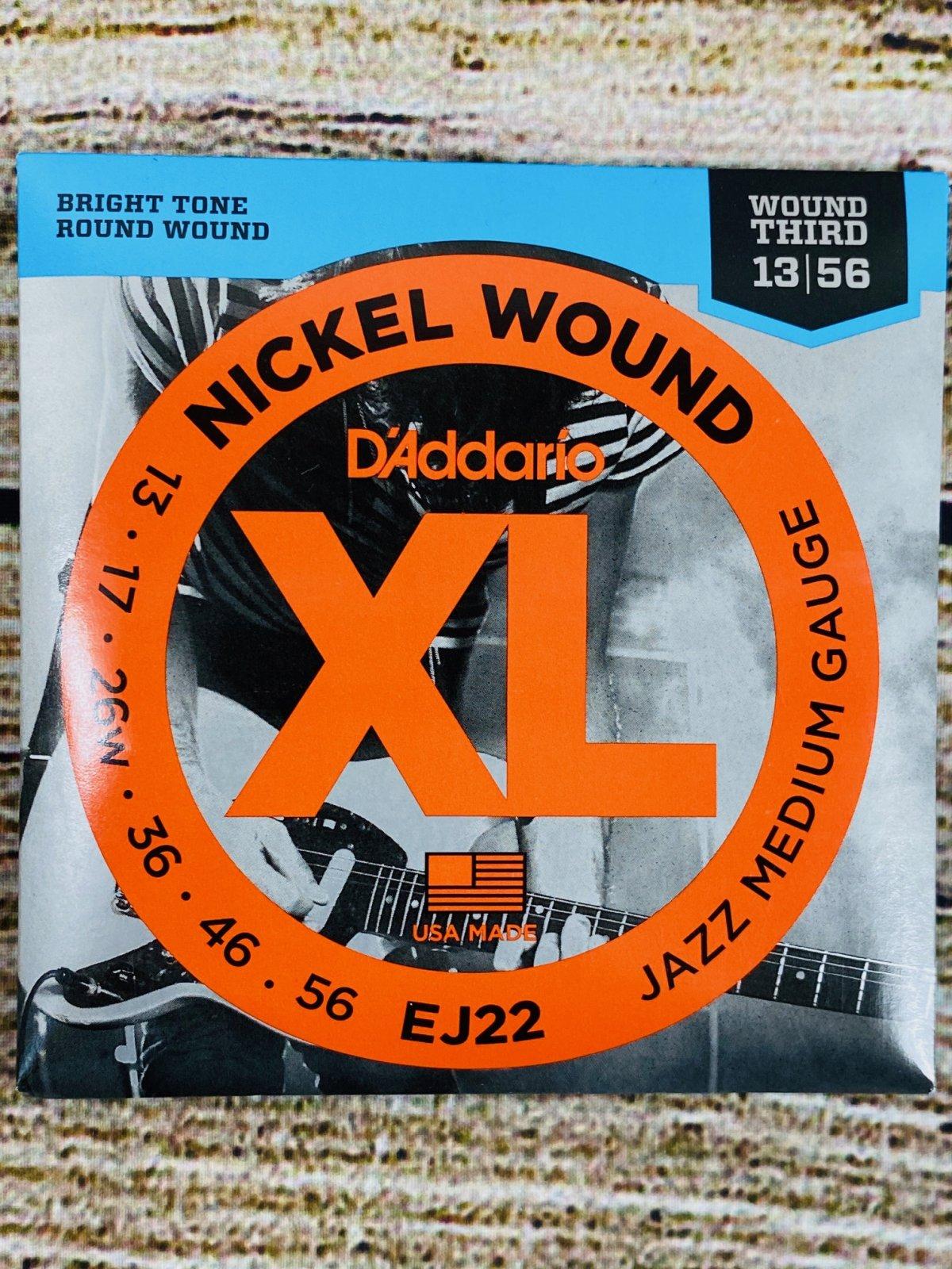 D'Addario EJ22 - Nickel Wound Electric Strings - .013-.056 Jazz Medium Wound 3rd
