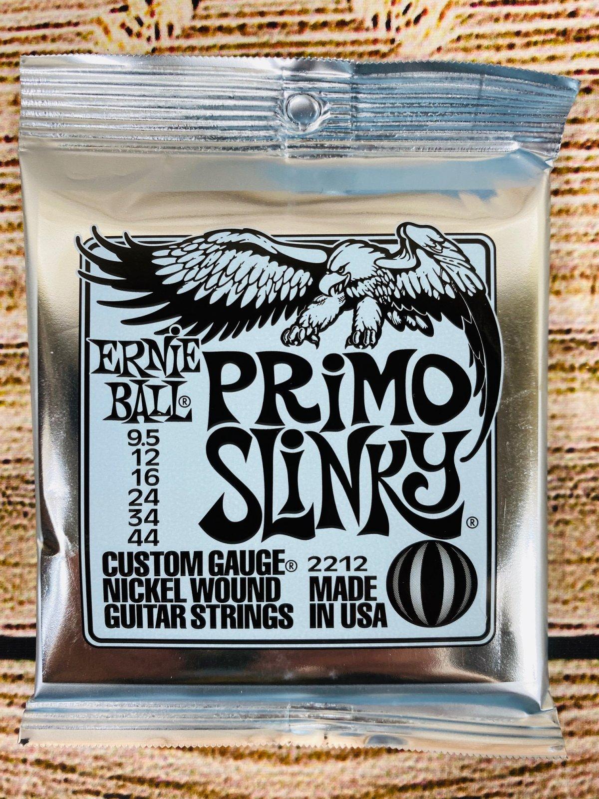 Ernie Ball 2212 Slinky Nickel Wound Electric Guitar Strings - .0095-.044 Primo Slinky