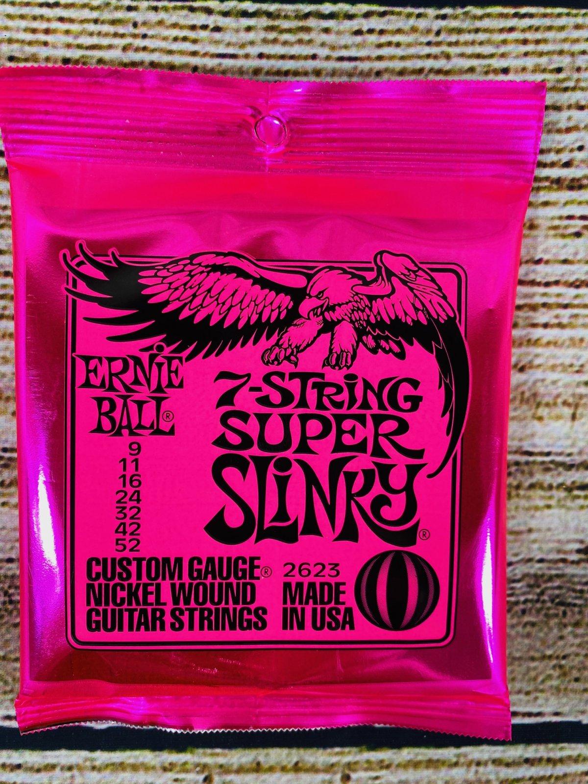 Ernie Ball 2623 Super Slinky 7-string Nickel Wound Electric Guitar Strings - .009-.052