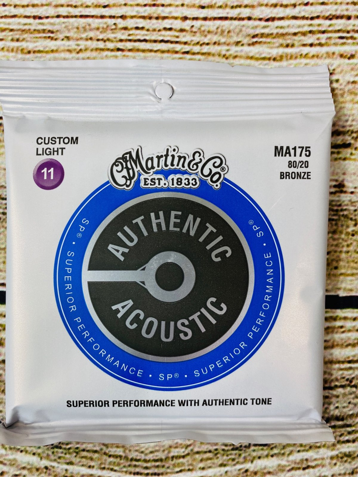 Martin Authentic Acoustic Superior Performance Guitar Strings - 80/20 Bronze Custom Light .011-.052