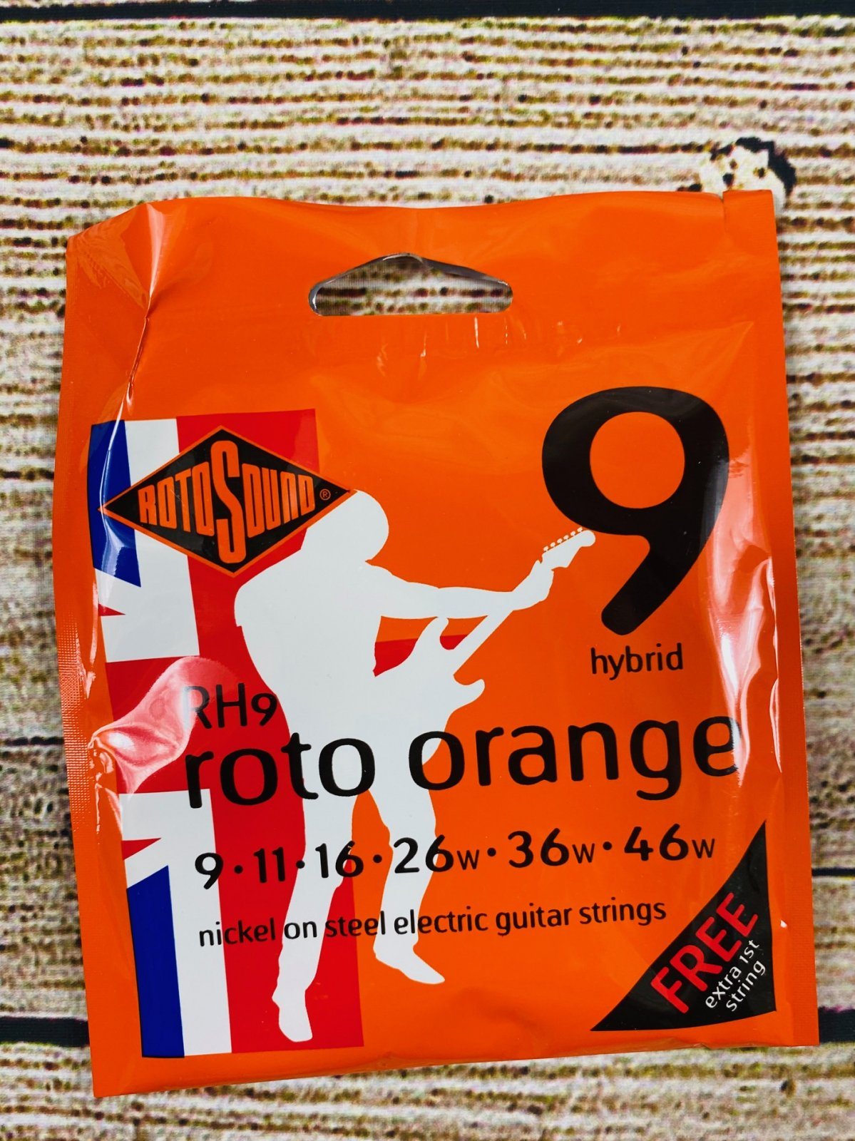 Rotosound RH9 Roto Orange Nickel On Steel Electric Guitar Strings - .009-.046 Hybrid