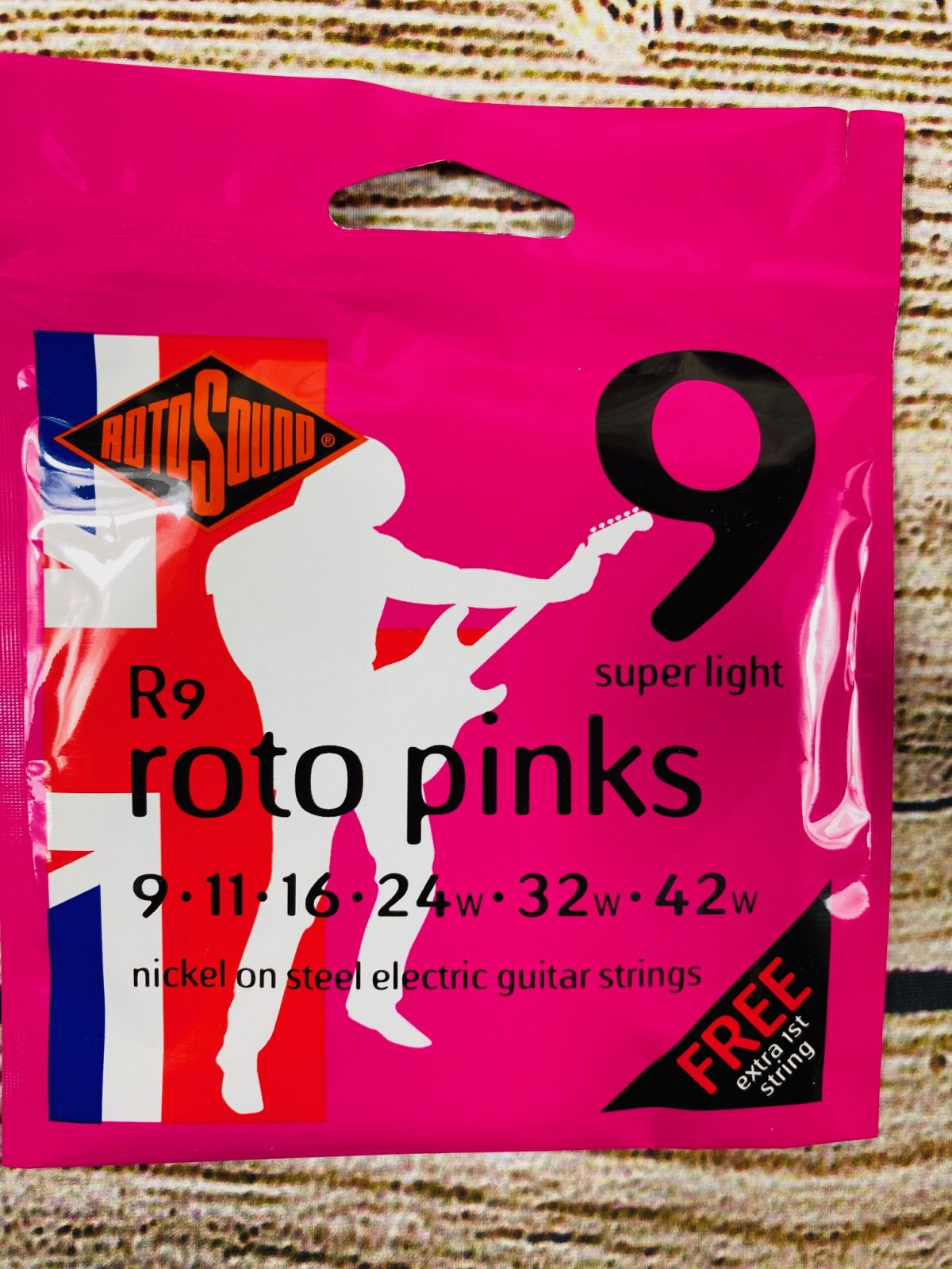 Rotosound R9 Roto Pinks Nickel On Steel Electric Guitar Strings - .009-.042 Super Light