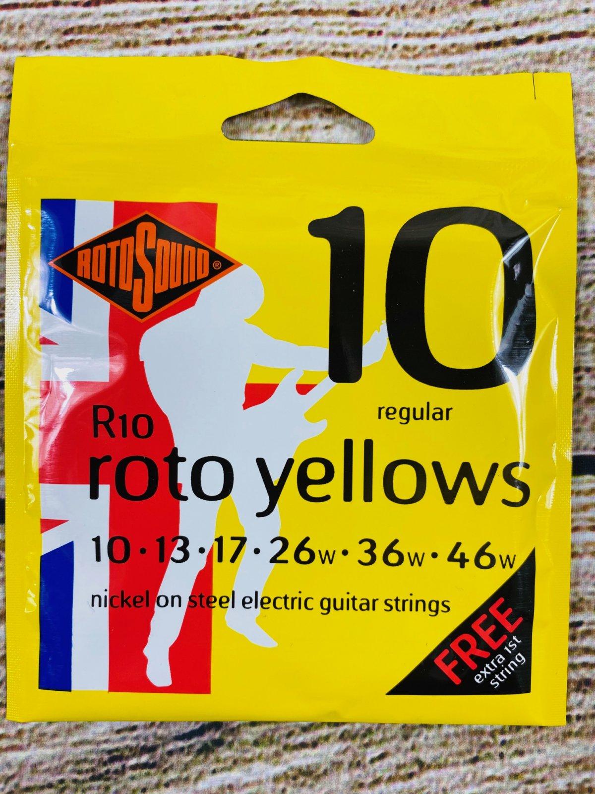Rotosound R10 Roto Yellows Nickel On Steel Electric Guitar Strings - .010-.046 Regular