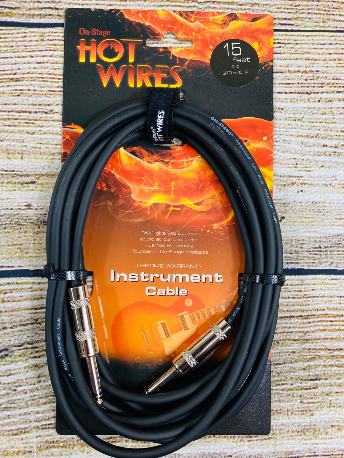 On-Stage Hot Wires 1/4 Guitar Instrument Cable, 15 Feet